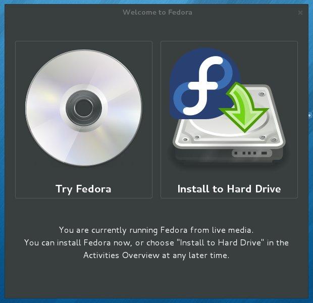Live-levyltä käynnistetyä Fedoraa voi myös käyttää asennusmediana.